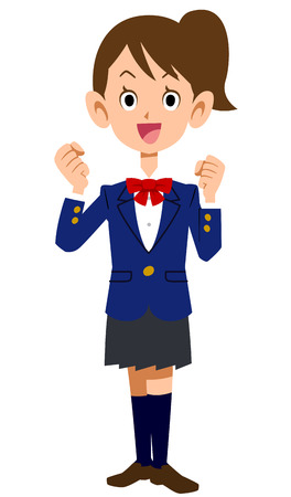 school exam: Takes the chequered flag, motivated, you get excited, students, high school, junior high school students, womens, schoolgirl, female junior high school students, school, exam, entrance, graduated from, youth, uniform, Blazer, study, studying, test, acade