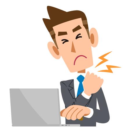 Businessmen suffer from stiff neck Vectores