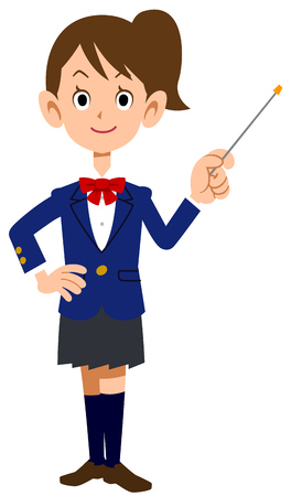 academic achievement: A female student with a pointing stick Illustration