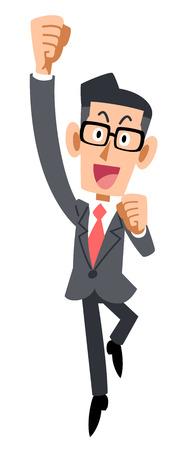 glad: Businessman glasses to jump with joy Illustration
