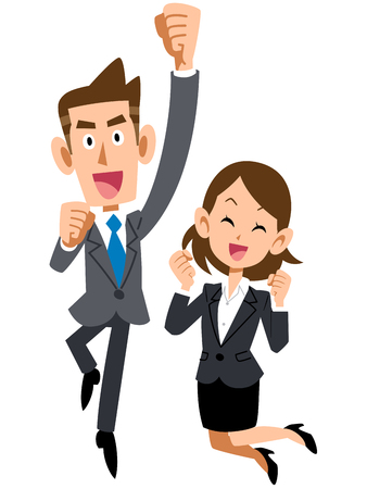 Jumping up, pleased businessmen and businesswomen Imagens - 48886975
