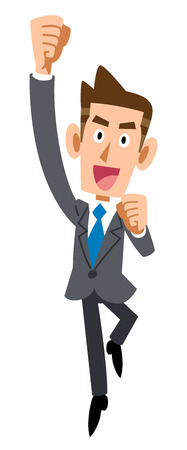 businessman jumping: Businessman jumping in joy