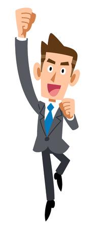 he: Businessman jumping in joy