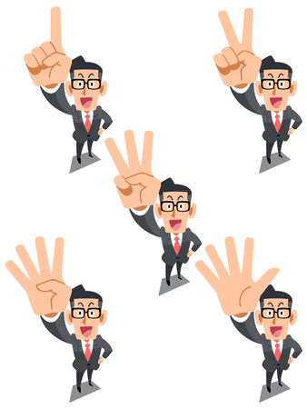 Businessman indicating the numbers with a finger, glasses