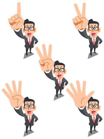 dedo: Empresário indicando os números com um dedo, óculos Ilustração