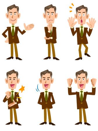 企業男性 6 posset 正面  イラスト・ベクター素材