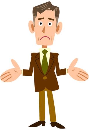 mature men: Senior businessman amazed Illustration