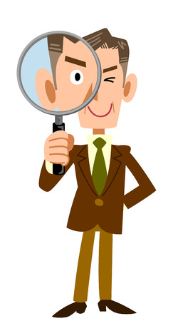 mature business man: Senior businessman with a magnifying glass