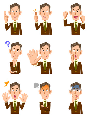 Elderly businessman 9 different gestures and facial expressions