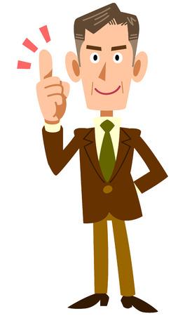 explain: Older businessmen to explain key points