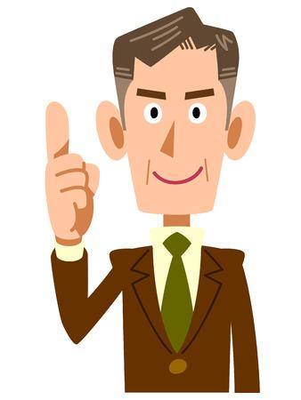 古いビジネスマンの彼の人差し指を発生