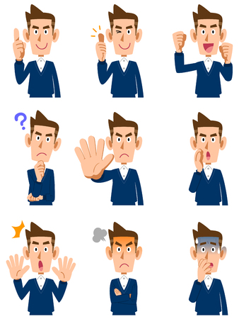 Men's various facial expressions and gestures