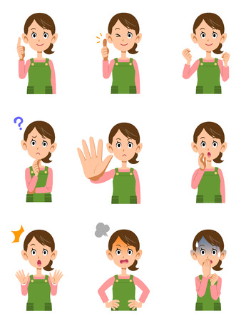 Various expressions of women wearing aprons