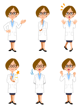 white coat: White women 6 kinds of postures and gestures