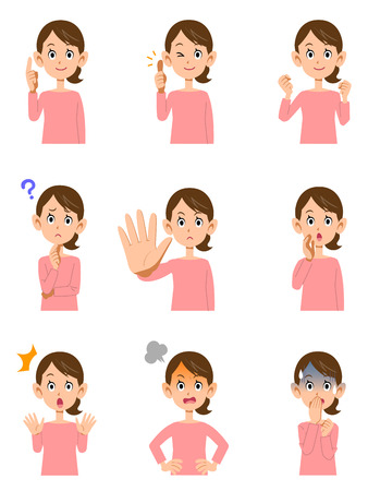 Various expressions of women  イラスト・ベクター素材