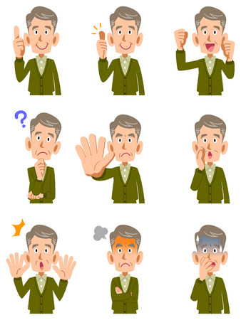 Various expressions of middle-aged men