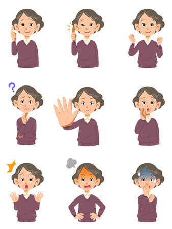 Various expressions of the first woman  イラスト・ベクター素材
