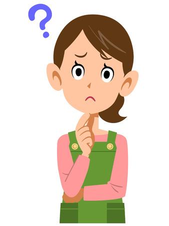 Las mujeres que usan delantales con la pregunta