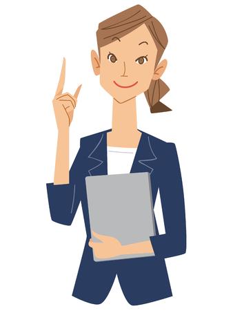 dedo indice: Las mujeres trabajadores de oficina ponen el dedo �ndice Vectores