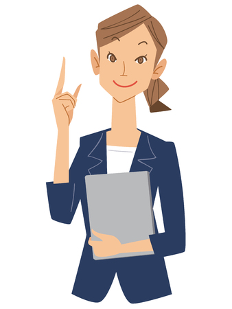 finger index: Women Office workers put up your index finger