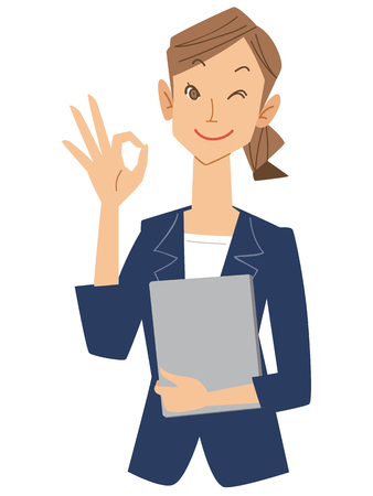 permission: Women Office workers give the OK sign Illustration