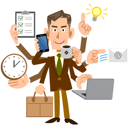 tasking: Corporate managers handle multi-tasking Illustration