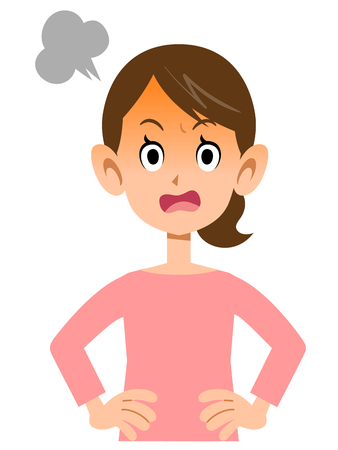 gets: Woman gets angry Illustration
