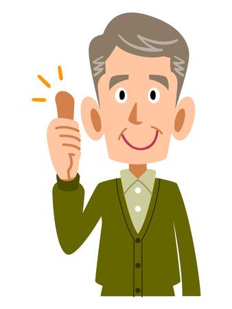 mature: Older man thumbs up Illustration