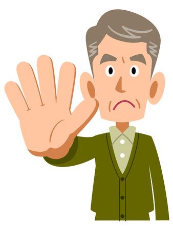 older man stops Illustration