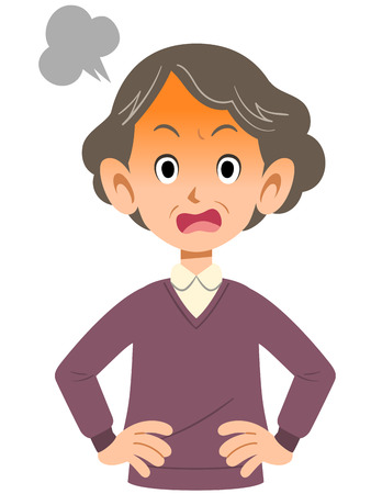 woman middle age: Angry older woman Illustration
