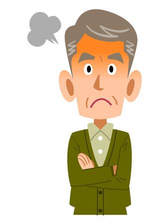 mature men: Angry older man Illustration