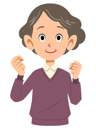 middle age women: excited elderly lady Illustration