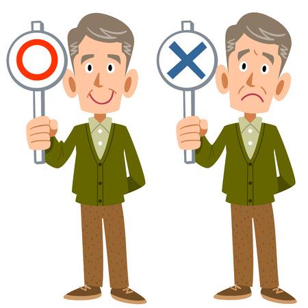 mature: Correct incorrect old man Illustration