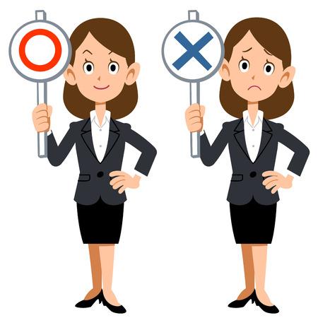mal: Correct incorrect businesswoman Illustration
