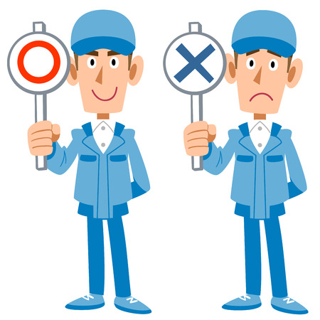 correct: Correct incorrect delivery workers Illustration
