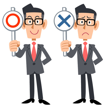 incorrect: Correct incorrect corporate man Illustration