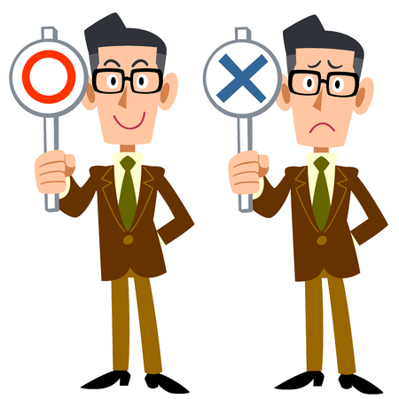 salaried worker: Correct incorrect corporate man Illustration