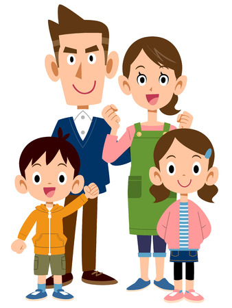 4 person family front Ilustrace