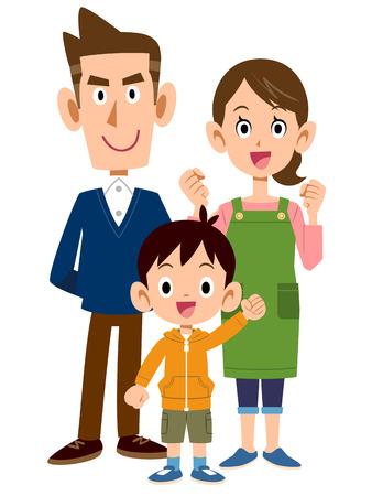 Three people family Stock Illustratie