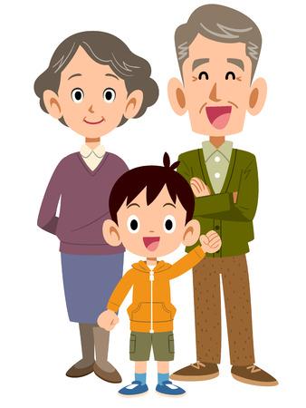 grandchild: An elderly couple and grandchild Illustration