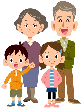 An elderly couple and grandchildren Illustration