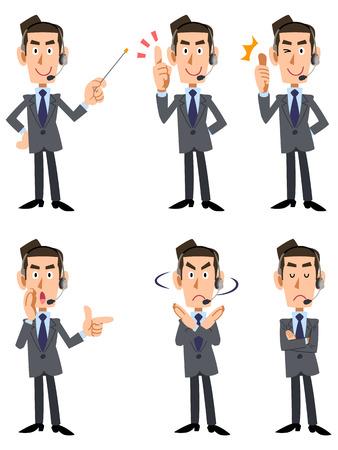 6 tipos de hombres de traje que usan llevaba un auricular gesto y la expresión facial