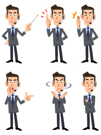 6 types of men in suits wearing wearing a headset gesture and facial expression
