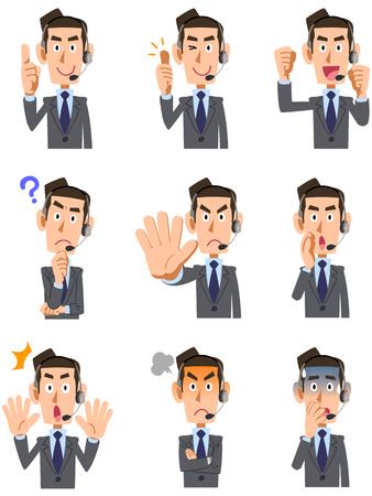 9 tipos de operadores de la cara de los hombres y el gesto