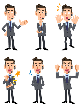 apo: 6 types of men in suits wearing wearing a headset gesture and facial expression Illustration
