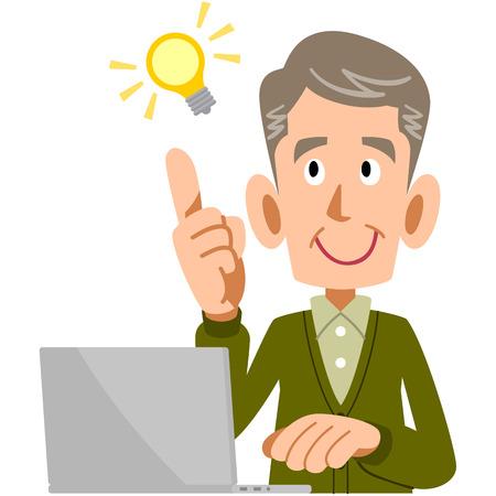 older men: Idea is a blur of elderly men and PC