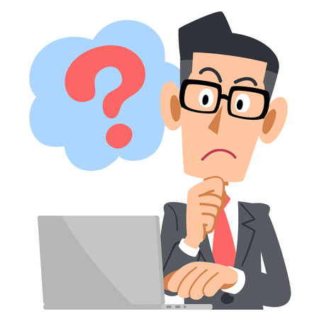 pc: Bespectacled businessman PC questions Illustration