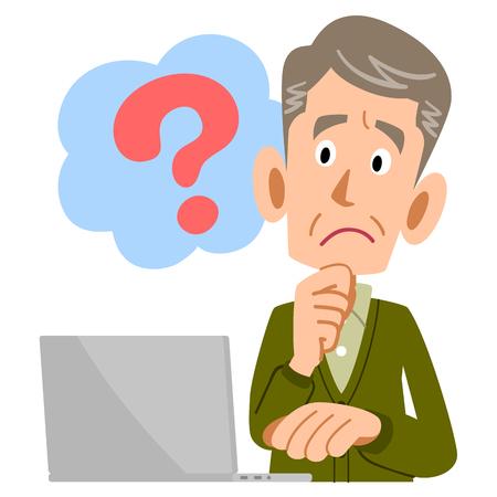 Elderly man PC questions Stock Illustratie