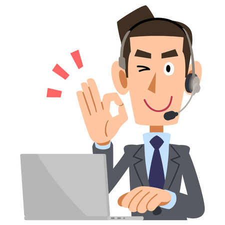 waist up: Men wearing a headset it shows OK sign Illustration
