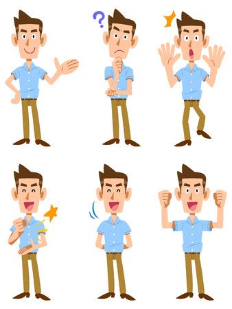 Mimiek en gebaar dat zes korte mouwen mannen